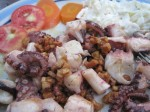 Octopus with Carmalized Garlic